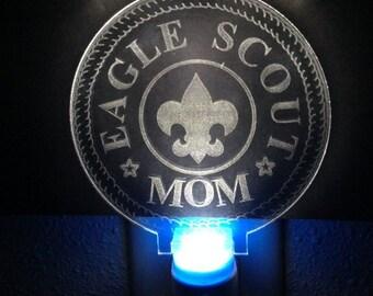 Nightlight LED - Eagle Scout Mom - Laser Engraved