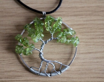 "Peridot Tree of Life pendant / necklace - 45mm / 1.75"" - with leather necklace"