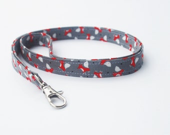 Fabric Lanyard With Swivel Snap, Mini Foxes in Grey