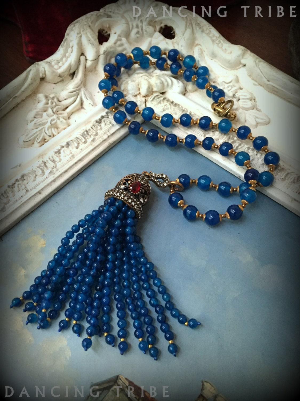 Blue Tassel Necklace Beaded Tassel Necklace Blue Agate