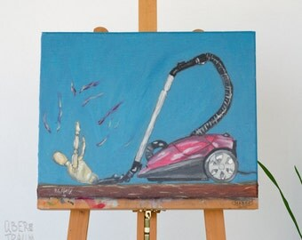 Conceptual Art Oil Painting - 'The Vacuum Cleaner' - contemporary art painting