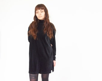 90s Black Ribbed Turtleneck Mini Dress