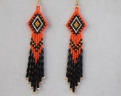 Native American Style Beaded Orange Earrings Southwestern, Boho, Hippie, Brick Stitch, Geometric, Belly Dancer Great Gift Ready to Ship