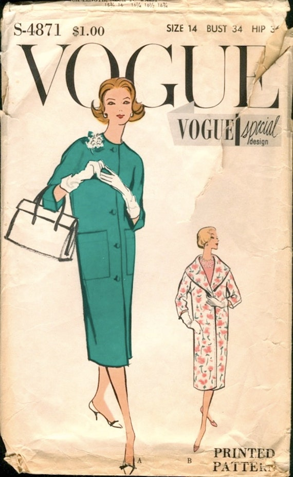 Fab Vintage 1950s Vogue Special Design S-4871 Shawl Collar Wrap or Plain Front Buttoned Coat Sewing Pattern B34