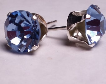 Sterling Silver stud crystal earrings loads of colors to choose from, bridesmaid gift, sweet 16, birthday, 8mm