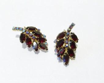 Garnet Red Rhinestone Earrings Vintage Clip On Ear Climber Retro Fashion Jewelry