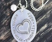 Personalized Sterling Silver Stacked Hearts Mothers Necklace Christmas