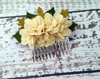 Felt Flower Hair Comb,Cream Ivory,Wedding Hair Accessory,Girls Women,Wool Felt, Mum Felt Flowers,Flower Girl,Cream Flower Comb