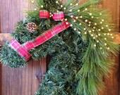 Christmas Horse Head Wreath with Plaid Halter / Christmas Garland Horse