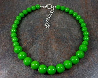 Statement Necklace, Green, Chunky Necklace, Round Bead Necklace, Green Bead Necklace, Big Bead Necklace, Green Necklace, Strand Necklace