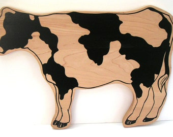Vintage Wooden Cow Cutout, Holstein Cows,Farm,Farm Animal,Country Kitchen,Home Decor
