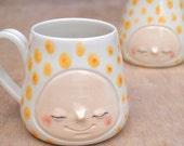 Sunshine yellow confetti smiling face mug