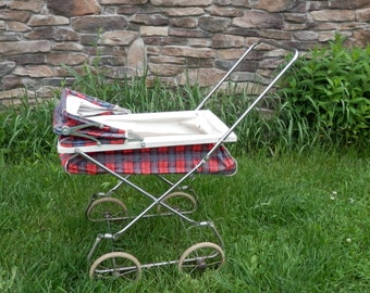Vintage Baby Doll Buggy 1960s Baby Doll Carriage Red Plaid Child's Toy Baby Carriage