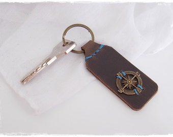 Compass Keychain, 3rd Anniversary Keyring, Nautical Leather Keychain, Navy Keychain, Leather Anniversary Keyring, Leather Sailor's Keyfob