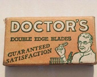 Vintage 1940s Doctor's Razor Blades Mint in Box Set of 3