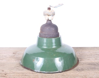 Antique Green Light / Large Industrial Green Porcelain Enamel Service Station Light / Barn Light / Garage Decor /Automotive Decor / Man Cave
