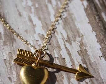 CLEARANCE SALE- Vintage Charm Necklace- Vintage Heart and Arrow Necklace- Upcycled Charm Necklace- Heart and Arrow Charm Necklace