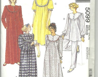 McCalls Pattern 5099 Misses Nightgown, Pajamas and Robe (14 - 16) UNCUT