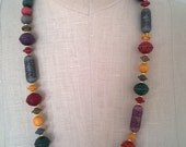 Colorful Bead Necklace - Vintage 30 Inch Long Boho Chic Necklace - Spring Summer Style