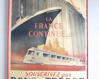 1942 WW2 Military French Lithograph Propaganda Poster La France Continue Marechal Petain ~ Unique Housewarming Gift Ideas, Nautical Decor