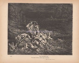 Angry Souls In Hell Crash On Rocks-River Of Death-Pain-Punishment-1890 Antique Vintage Art PRINT-Picture-Ephemera-Devil-Lucifer-Satan-Gothic