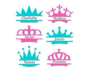 Princess Crown Svg, Split Monogram Svg, Crown Monogram Svg, Crown Monogram Frames, Cricut Cut Files, Silhouette Cut Files