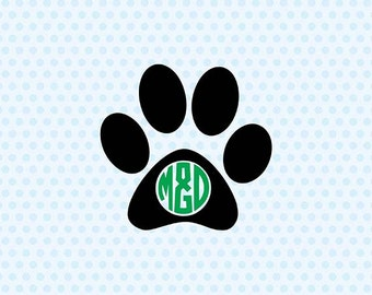 Paw Monogram Svg, Paw Print Svg, Dog Svg, Cricut Cut Files, Silhouette Cut Files