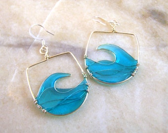 Resin Filled Wave Wire Earrings