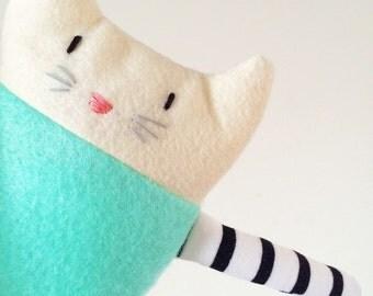 Cat plush in cream and mint - Scented Rice-Filled Cat Plush /Felt SmallToy /Stuffed animal