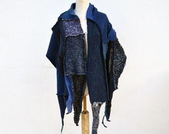 Indigo Hand knited shawl, denim blue patchwork, asymmetrical unique scarf, soft felted wool fabric, geometrical, fashion designed fleece