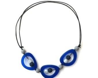 Nursing Necklace - Choker/ Mid Length Adjustable Resin Necklace - Troika - Blue, Navy, White, Grey, Nautical