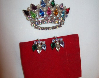 Vintage Multi Color Rhinestone & Pearl Crown Brooch Pin w/ Matching Earrings Signed B David Only 20 USD