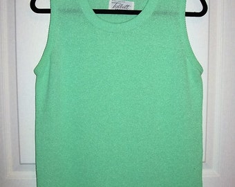 Vintage 1960s Green Tank Sweater Travler by Talbots Medium Only 6 USD