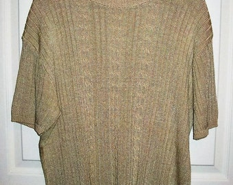Vintage Ladies Tan Short Sleeve Rib Knit Sweater Forever by Creative Cotton Large Only 8 USD
