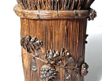 antique Longleaf Pine Needle Folk Art Vessel, American style, Antique Native American, rustic home decor, seminole, Woodland Native American