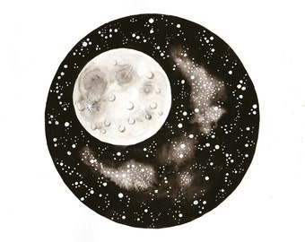 Moon Original watercolor painting illustration space art stars galaxy black and white lunar wall decor