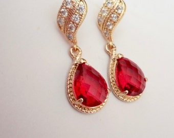 Gold earrings - Red teardrops -  Bridal jewelry - Bridesmaids - Gold over sterling wave posts - Braided frame teardrops - Classy -
