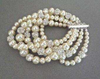 Pearl cuff Bracelet ~ Swarovski rhinestone and pearls ~ 5 Strand ~ Statement Bracelet ~ Elegant ~ Bridal Jewelry ~ Brides Bracelet ~Stunning