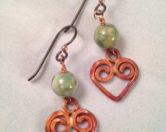 Copper Hearts Rhyolite Beaded Dangle Earrings