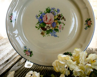 "Tabletops Unlimited, ""Victoria Floral,"" 11 Inch, Victoria White, Discontinued, Round Classic Plate, Platter"