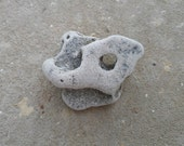 Beach Hag Stone. Unique Mystical Holey Stone. Natural Curiosity Metaphysical Garden Rock Deco. Wiccan Druid Supply. Israel Rock Collection.