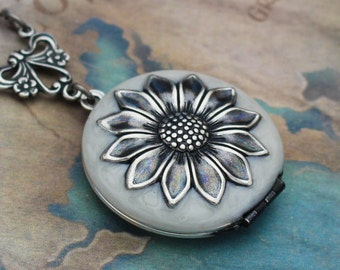 Sunflower Locket, Sunflower Necklace, Enamel Jewelry, Silver Sunflower, Sunflower Wedding, Birthday Gift, Bridesmaid Gift, Gift for Her