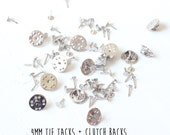 25 pieces - 4mm - Tie Tacks with Clutch Backs - Glueable Pad - 9mm length