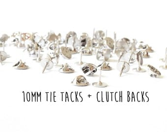 100 pieces - 10mm - Tie Tacks with Clutch Backs - Glueable Pad - 9mm length