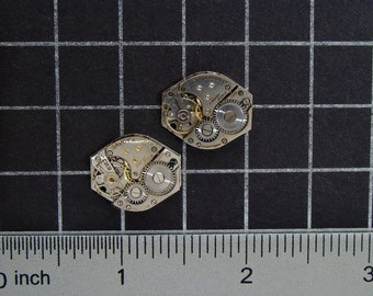 Vintage Watch Movements for Cufflinks or Earrings a Matched Set with Gears, for Jewelry Making, Mixed Media, Steampunk Art  Supplies 04293