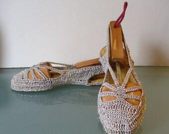 Vintage Gustave Handmade Silver Metallic Crocheted Sandals