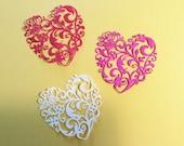 "3 Flourish Dainty Hearts, Red, Pink, White, Sizzix, Cardstock, 3 1/2"", Handmade, Pretty"