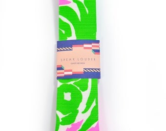 Green neon pink necktie - Wedding Mens Tie Skinny plants, wild jungle tropic tie Laid-Back necktie
