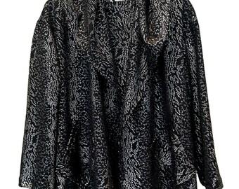 Black and Silver Jacket, Women Cardigan, Sequin, Plus Size, Cardigan With a Hood, Evening Jacket, Winter Cardigan, Designer Cardigan