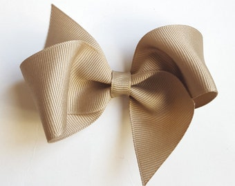 khaki school uniform hair bows-3.5 inch hair bow--perfect for back to school uniforms